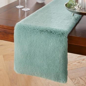 Tischläufer Kunstfell Salbeigrün